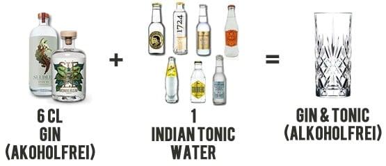 Zubereitung eines alkoholfreien Gin & Tonics